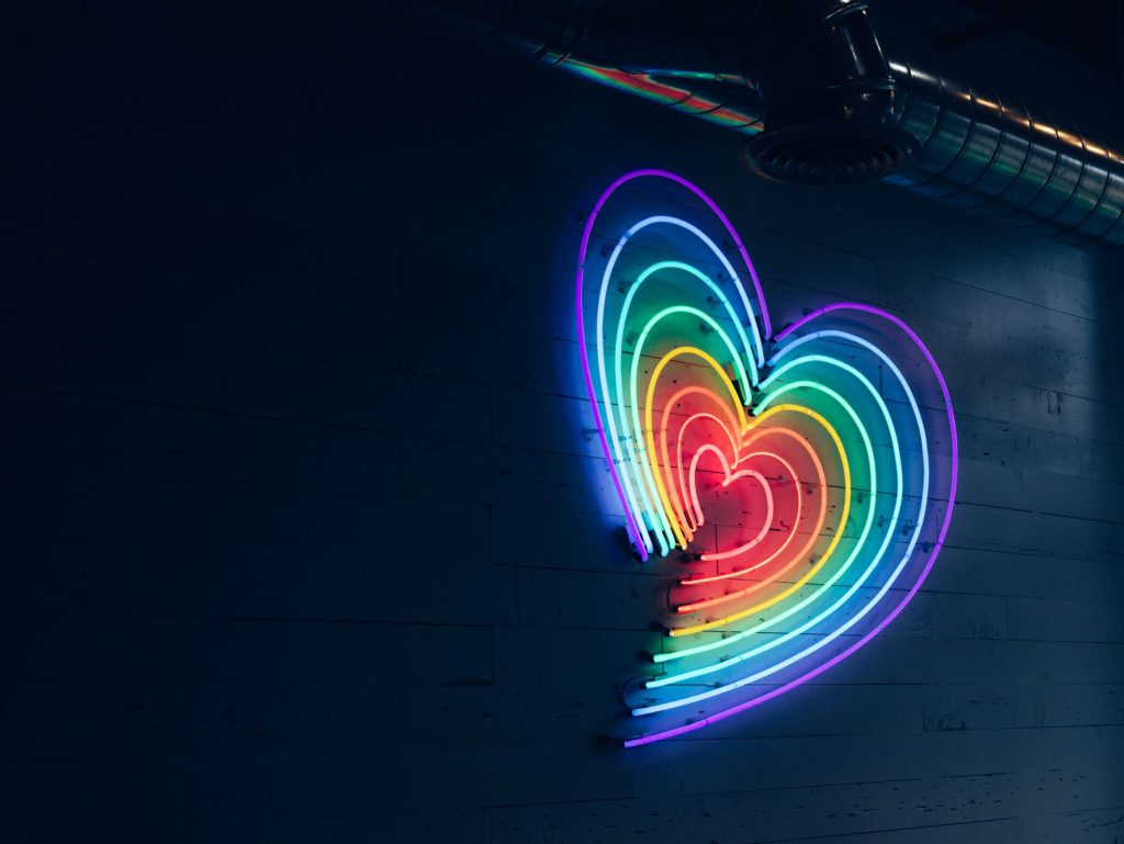 heart, rainbow, dark, party